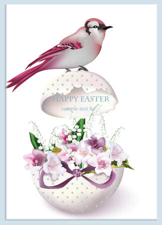 revive: Happy Easter card with bird sitting on a cracked egg and spring floral bouquet. Vintage retro style Postcard Illustration