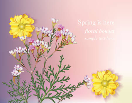 bush mesh: Spring flowers blossom. Delicate flower bouquet card background. Beautiful Postcard for Weddings, Birthday, Anniversary. Vector illustration Illustration