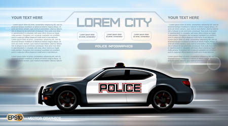 Realistic Police car Infographic. Urban city background. Online Cab Mobile App, Cab Booking, Map Navigation e-commerce business concept. Digital Vector
