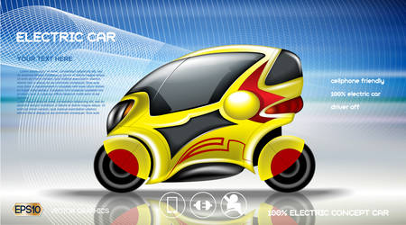 Realistic 3d Electric car infographic concept. Digital Vector Electric car poster with icons. e-commerce business concept 向量圖像