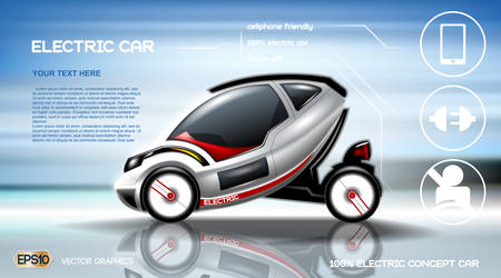 Realistic 3d Electric car infographic concept. Digital Vector Electric car poster with icons. e-commerce business concept Vectores