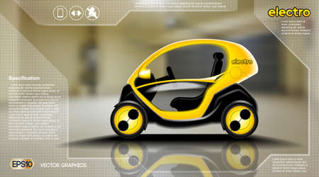 Realistic 3d Electric car infographic concept. Digital Vector Electric car poster with icons. e-commerce business concept Illustration