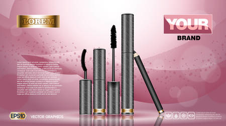 hydrate: Cosmetic set ads template, mascara and brow s gel collection cover mockup. Pink fusion background fragrance. Dazzling effect background. 3D Realistic Vector illustration