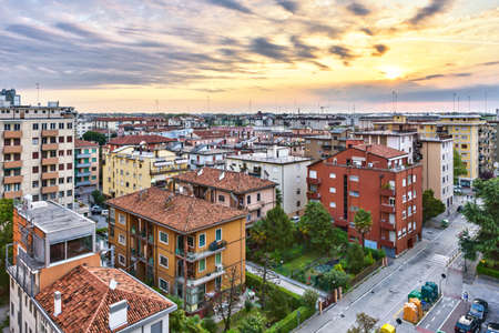 Mestre Italian city at sunrise view from above. Beautiful buildings in morning light 스톡 콘텐츠