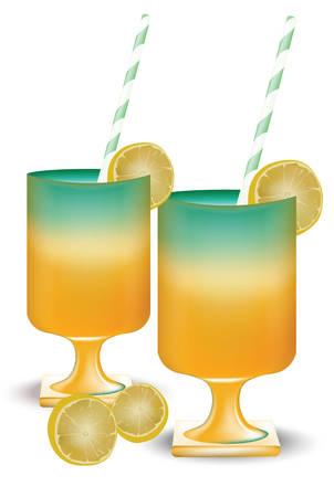 Fruits cocktail summer vector illustration