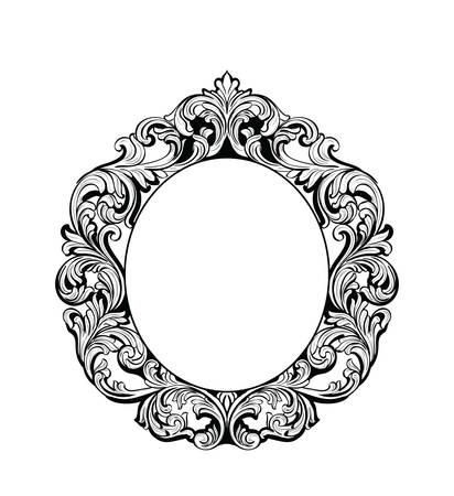Imperial Baroque Mirror round frame. Vector French Luxury rich intricate ornaments. Victorian Royal Style decor Векторная Иллюстрация