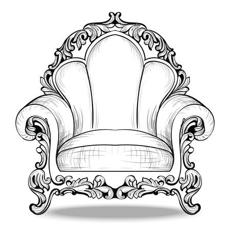 Exquisite Imperial Baroque armchair luxurious ornament. Vector French Luxury rich intricate structure. Victorian Royal Style decor Illustration