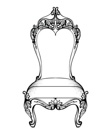 Imperial Baroque chair in luxurious ornaments. Vector French Luxury rich intricate structure. Victorian Royal Style decor