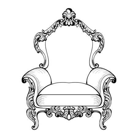caoba: Sillón imperial barroco con lujosos adornos. Vector de estructura intrincada rica de lujo francés. Decoración de estilo victoriano real