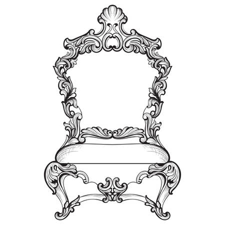 Imperial Baroque armchair in luxurious ornaments. Vector French Luxury rich intricate structure. Victorian Royal Style decor