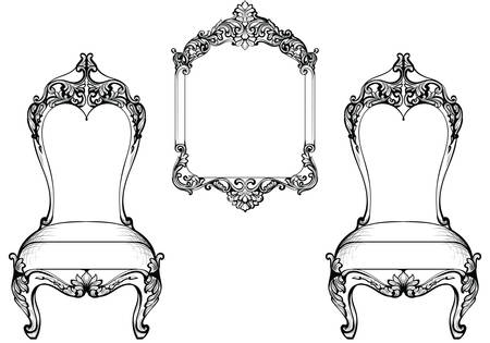 Imperial Baroque chair and mirror frame luxurious ornament. Vector French Luxury rich intricate structure. Victorian Royal Style decor
