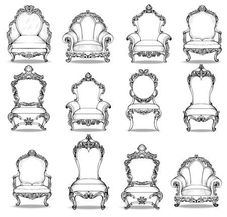 luxury furniture: Vintage Baroque luxury style armchairs furniture set collection. French Luxury rich carved ornaments decoration. Vector Victorian exquisite Style furniture
