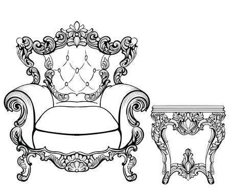 Imperial Baroque armchair and coffee table with luxurious ornaments. Vector French Luxury rich intricate structure. Victorian Royal Style decor