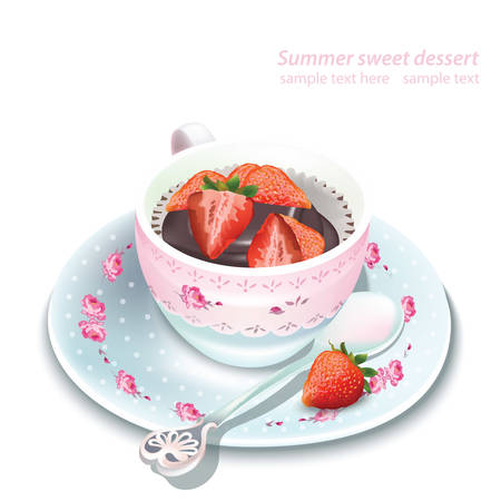 dessert buffet: Vector chocolate strawberry mousse in a mug. Summer delicious dessert