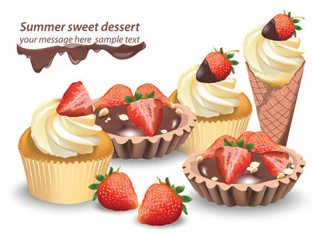 dessert buffet: Delicious sweets and desserts with fruits. Chocolate tartlets and vanilla cupcakes. Summer confectionary bakery treats Vector illustration