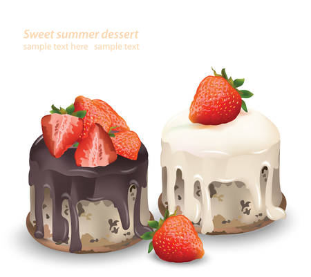 dessert buffet: Delicious sweets and desserts Chocolate and strawberry cakes. Summer confectionary bakery treats Vector illustration