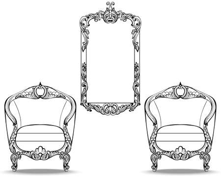 Imperial Baroque chair and mirror frame with luxurious ornaments. Vector French Luxury rich intricate structure. Victorian Royal Style decor