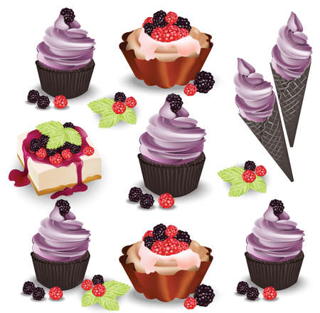Set of delicious sweets and desserts with fruits. Summer confectionary bakery treats Vector illustration Stock Photo