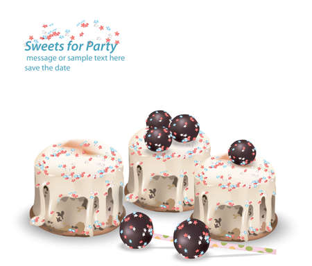 Delicious festive sweets and desserts for a party. Summer confectionary bakery treats Vector illustration