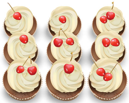 Cupcakes on a white table. Summer delicious desserts cherry vanilla flavors Illustration