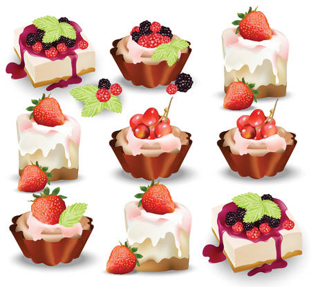 dessert buffet: Set of delicious sweets and desserts with fruits. Summer confectionary bakery treats Vector illustration Illustration