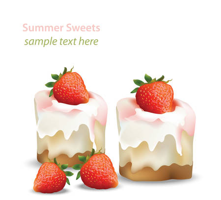 dessert buffet: Summer sweet cheesecake with strawberry fruits syrop. Delicious fresh dessert Vector