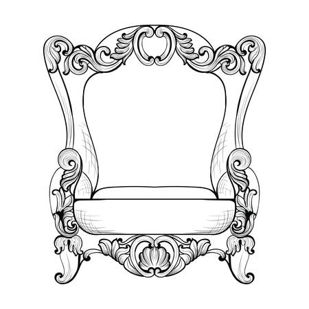 sumptuous: Classic Imperial Baroque armchair with luxurious ornaments. Vector French Luxury rich intricate structure. Victorian Royal Style decor