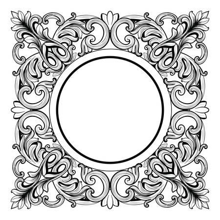 ビンテージの帝国バロック ミラーのラウンド フレーム。フランスの高級豊かな複雑な装飾をベクトルします。高貴なビクトリア朝様式の装飾