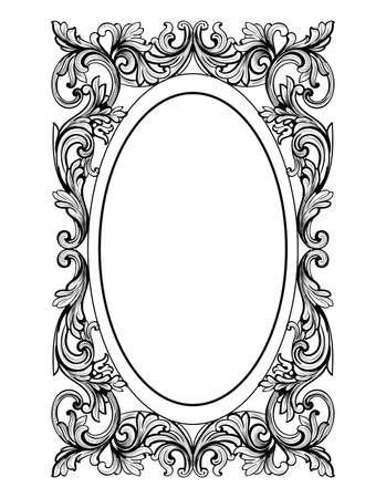 Cadre vintage miroir ovale . rideaux de style baroque de luxe français . décoration royale de luxe royale Banque d'images - 80195564