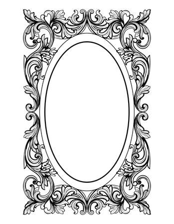 Vintage Mirror oval frame. Vector French Luxury rich intricate ornaments. Victorian Royal Style decor Çizim
