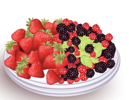 Fresh fruits on a white plate.