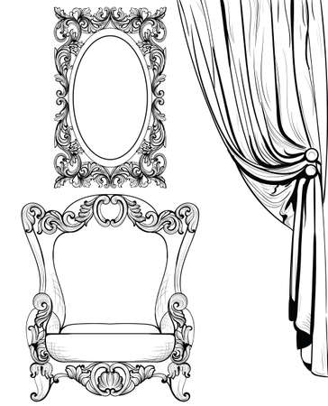Exquisite Imperial Baroque armchair and mirror frame in luxurious ornament. Vector French Luxury rich intricate structure. Victorian Royal Style decor Standard-Bild