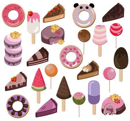 dessert buffet: Set of delicious sweets and desserts with fruits. Summer confectionery bakery treats Vector illustration Stock Photo