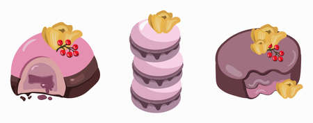 dessert buffet: Berry mousse, macarons and delicious cake, Sweet dessert lavender flavors Vector illustration Stock Photo