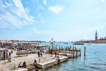 VENICE, ITALY - APRIL 02, 2017: Beautiful sunny day in the italian lagoon. View near San Marco square