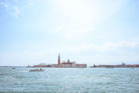 San Giorgio island in Venice, Piazza San Marco. View from Grand Canal. Scenic cityscape with gondolas Stock Photo