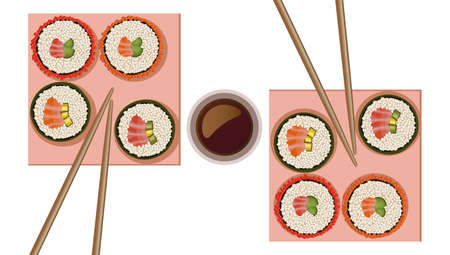 Sushi rolls top view flat style Vector illustration