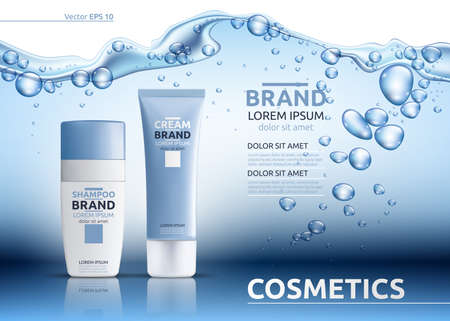 Aqua Moisturizing cosmetic ads template. Hydrating facial or body lotion. Mockup 3D Realistic illustration. Sparkling water drops over blue background Çizim