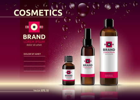 claret: Body care cosmetic set serum and cream ads template. Hydrating facial or body lotions. Mockup 3D Realistic illustration. Sparkling deep red background