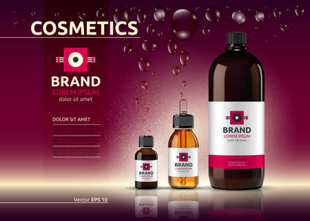 Body care cosmetic set serum, oil and cream ads template. Hydrating facial or body lotions. Mockup 3D Realistic illustration. Sparkling background