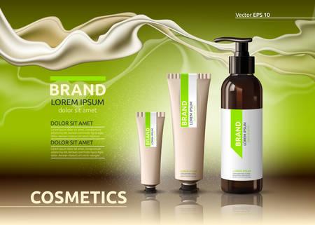 Serum- und Creme-Anzeigenvorlage für Körperpflege-Kosmetik. Feuchtigkeitsspendende Gesichts- oder Körperlotionen. Modell 3D realistische Abbildung. Funkelnder Grünhintergrund