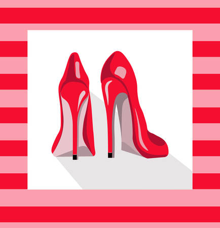Red sexy shoes on pink background. Vector illustration