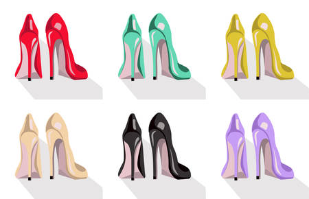 Colorful high heel shoes set Vector illustration