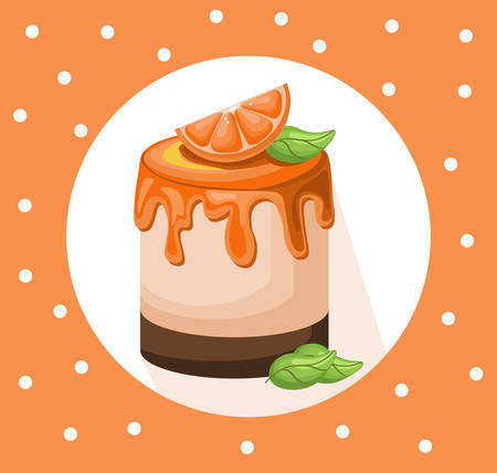 children party: Delicious festive orange cake dessert on retro dotted background. Summer confectionery bakery treats Vector illustration Illustration