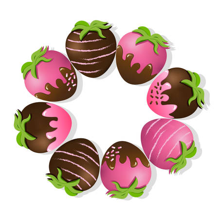 Strawberries fruits delicious chocolate dipped top view Vector background Illustration