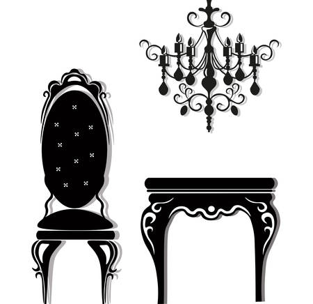 Vintage black furniture set Vector. Rich carved ornament furniture collection. Vector Victorian Style