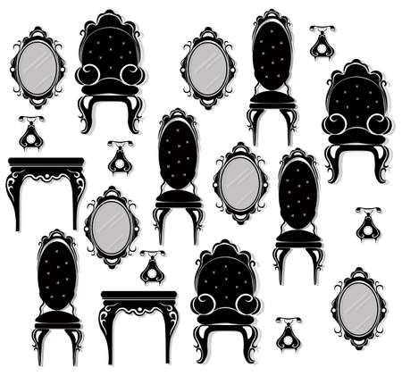 refinement: Vintage black furniture set Vector. Rich carved ornaments furniture collection. Vector Victorian Style