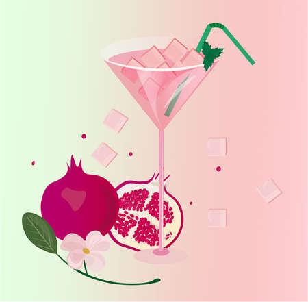 Pomegranate fresh cocktail glass Summer Vector illustration Illustration