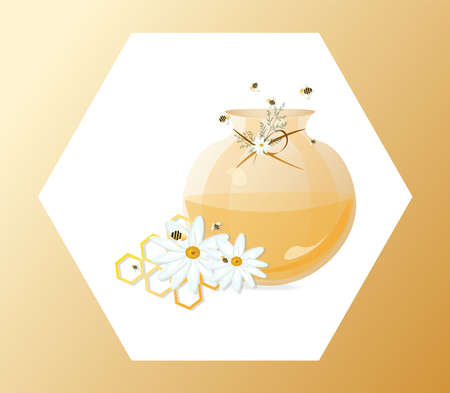 Honey and chamomile in a jar Vector illustration