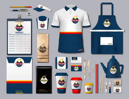 Business fastfood corporate identity items set. Vector fastfood Color promotional uniform, apron, menu, timetable, coffee cups design with logos. Work Stuff Stationery realistic collection
